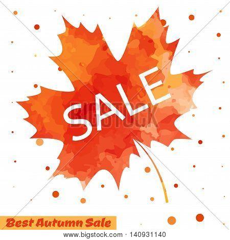 Autumn Sale flyer design with colorful watercolor maple leaf. Vector illustration. Business event concept. Sale banner design for web site