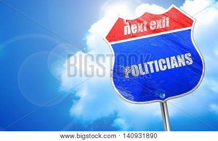 politicians, 3D rendering, blue street sign