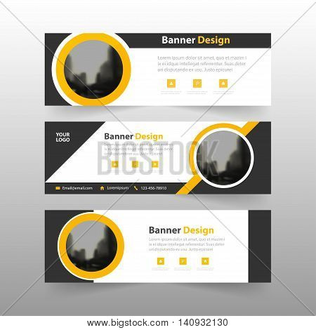Yellow black abstract triangle corporate business banner template horizontal advertising business banner layout template flat design set clean abstract cover header background for website design