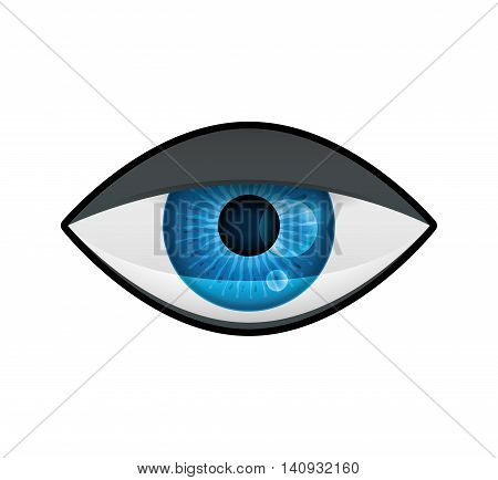 View and look concept represented by tired eye icon. Isolated and flat illustration