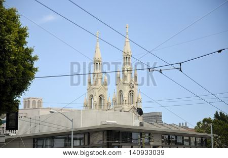 The twin spires of Saint Peter and Paul Church in San Francisco California.