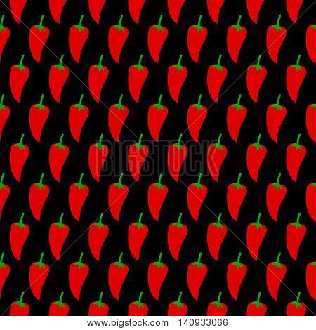 Pepper seamless black pattern. Vector illustration of  image of pepper on a black background.