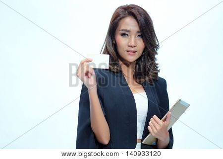 Portrait Beautiful Asian Woman Standing, Hold Tablet  And Namecard