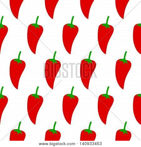 Pepper seamless pattern. Vector illustration of  image of pepper on a white background.