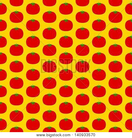 Tomato seamless pattern. Vector illustration of  image of tomato on a yellow background.