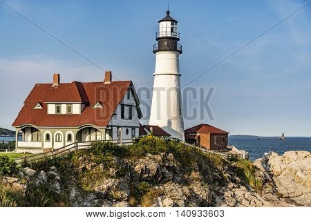 View of the Portland Head Lighthouse in Maine, USA