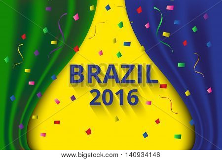 Abstract banner curtain color of brazil flag confetti background .Illustration eps10