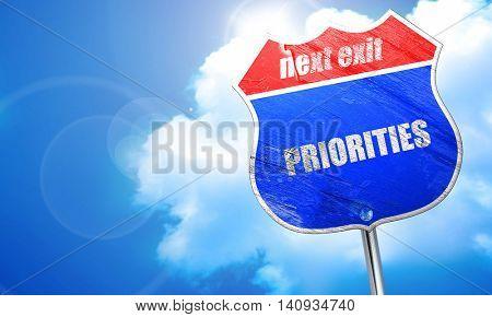 priorities, 3D rendering, blue street sign