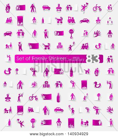 family vector sticker icons with shadow. Paper cut