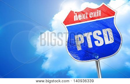 ptsd, 3D rendering, blue street sign