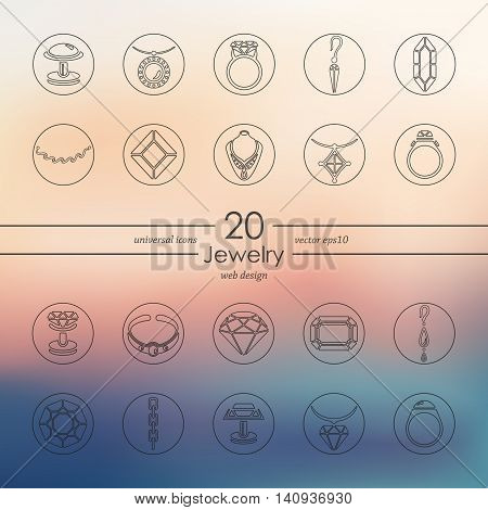 jewelry modern icons for mobile interface on blurred background