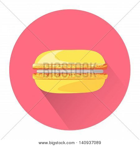 Cartoon macaroon icon isolated on white background. Vector illustration for sweet food dessert design. Biscuit cake cookie symbol. Delicious logo sign. Yellow pink cute color one bright french macaron