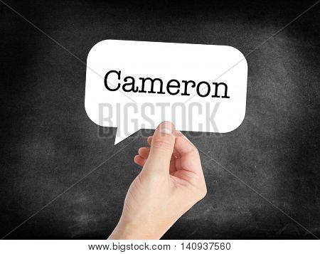 Cameron written in a speechbubble