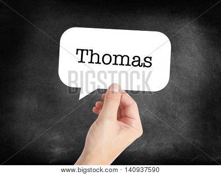 Thomas written in a speechbubble