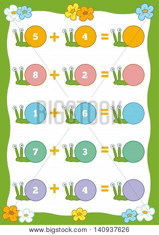 Counting Educational Game For Children. Addition Worksheets