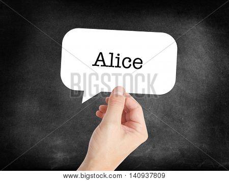 Alice written in a speechbubble