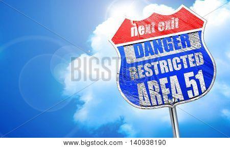 area 51 sign, 3D rendering, blue street sign