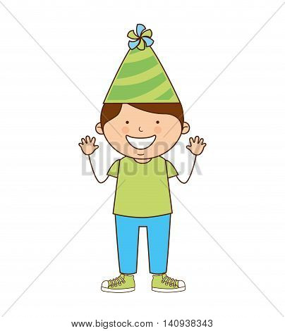 boy with hat party icon vector illustration graphic