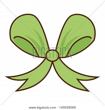 ribbon bow green icon vector illustration graphic
