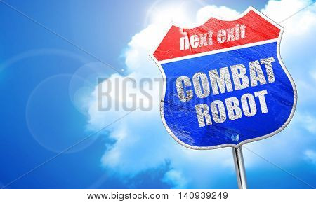 combat robot sign background, 3D rendering, blue street sign