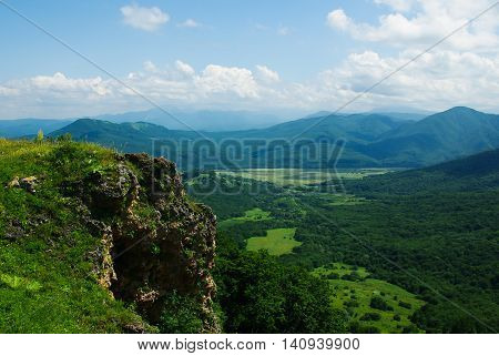 Mountain woodland in summer time. Caucasus region