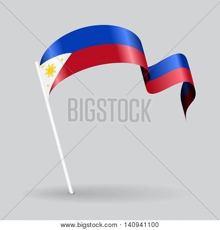 Philippines pin icon wavy flag. Vector illustration.