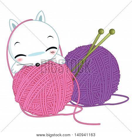 knitting wool red and green yarn needle