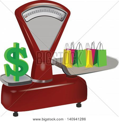 Weight shopping weight in dollars for food and clothing purchase