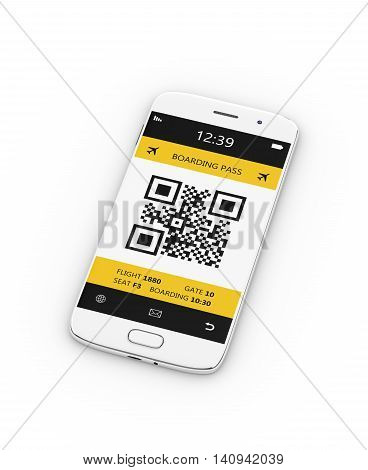 3D Rendering Of Mobile Phone With Mobile Boarding Pass On White