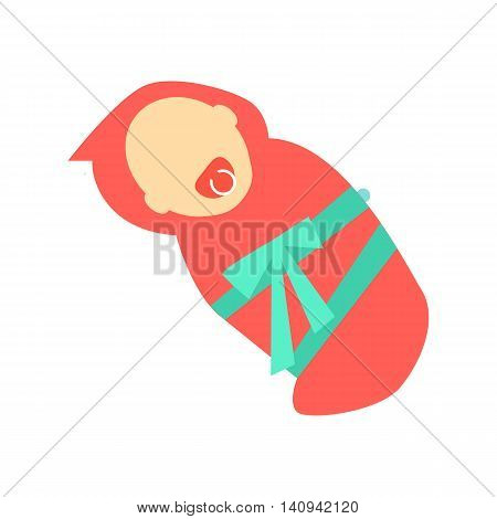 Baby girl character without face wrapped in red napkin vector. Flat design. Child template personage illustration for family, newborn, baby concepts, logos, infographic. Isolated on white background.