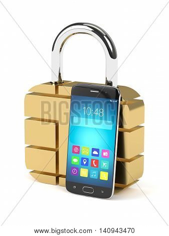 3D Rendering Of Sim Padlock And Mobile Phone Over White
