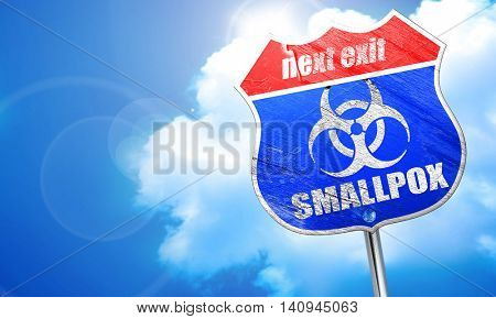 smallpox concept background, 3D rendering, blue street sign