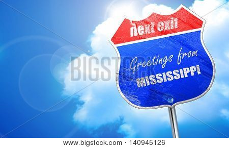 Greetings from mississippi, 3D rendering, blue street sign