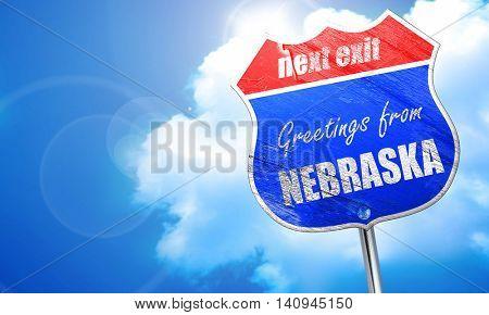 Greetings from nebraska, 3D rendering, blue street sign