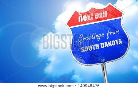 Greetings from south dakota, 3D rendering, blue street sign