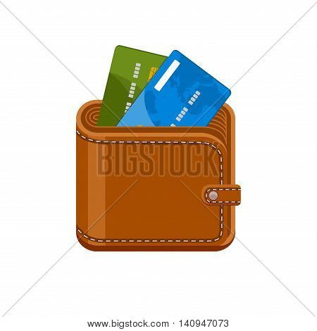 Wallet with credit bank cards. Cashless payments. Purse with plastic debit cards. Vector icon isolated on a white background.