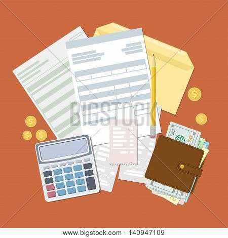 Concept of tax payment and invoice. Open envelope with tax bills and checks. Wallet with cash money, golden coins, calculator, pencil. Vector illustration.