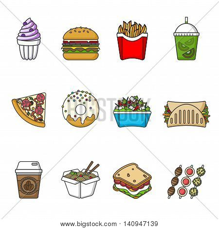 Set of fast food icons. Drinks, snacks and sweets. Colorful outlined icon collection. Vector illustration on white background. Sandwich, hamburger, pita, pizza, donut, shake, salad, coffee, ice cream