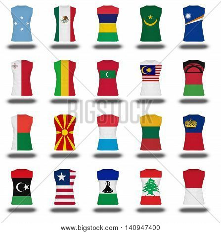 Compilation Of Nationals Flag Shirt Icon On White Background Part 610
