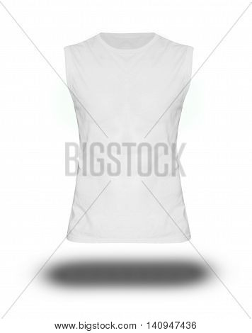 Men's Slim-fitting Short Sleeveless Shirt On White Background With Shadow