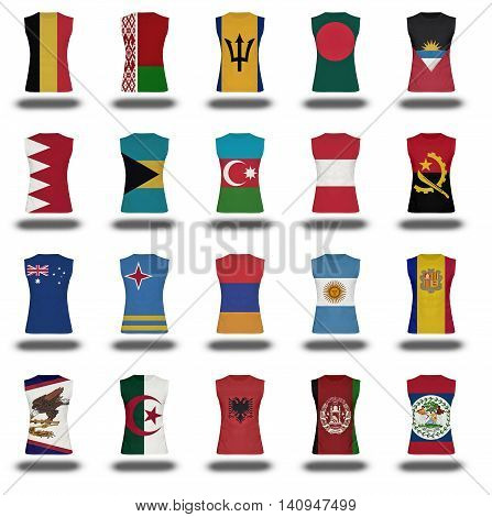 Compilation Of Nationals Flag Shirt Icon On White Background Part 1/10