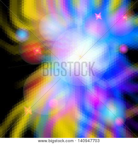 Abstract glowing background with rays resembling an explosion. Blue, pink, red and yellow spectral beams with flash burst