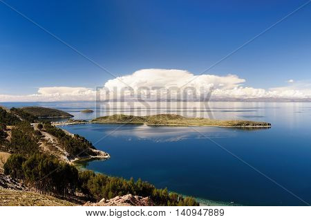 South America Bolivia - Isla del Sol on the Titicaca lake the largest highaltitude lake in the world (3808m) This island's legendary Inca creation site and the birthplace of the sun. Landscape of the Titicaca lake