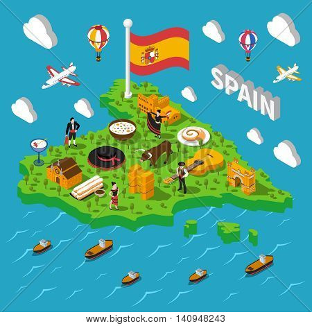 Touristic Spain isometric map with culture and sightseeing symbols vector illustration