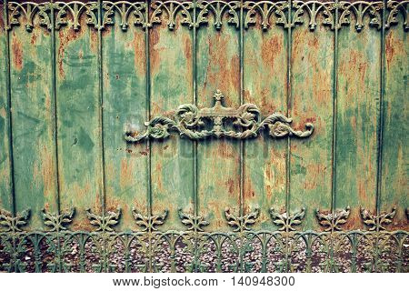 Old green rusted iron wall with rust