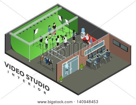 Professional live video recording studio interior with on air sign and camera operator isometric view vector illustration