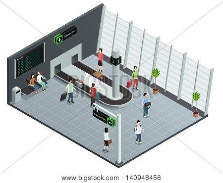 Modern airport baggage carousel isometric view poster with arrived passengers waiting luggage delivery abstract vector illustration