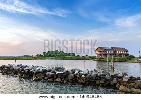 Large Summer vacation home on the Chesapeake Bay in Maryland near sunset