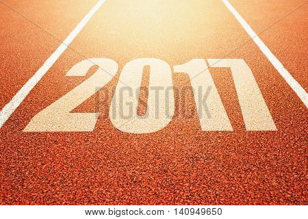 2017 Happy New Year athletics sport running track concept with number two thousand and seventeen