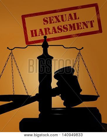 Court gavel and scales of justice silhouette with Sexual Harassment stamp